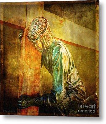 Jesus Falls Via Dolorosa 3 Metal Print by Lianne Schneider