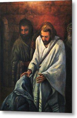Jesus Healing Beggar Metal Print by Donna Tucker