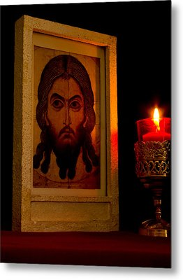 Jesus Icon Not Made With Hands Metal Print