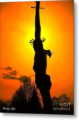 Jesus In Sunset 1 Hope Metal Print by Becky Lupe