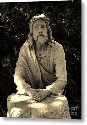Jesus In The Garden Metal Print by Bob Sample