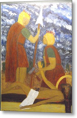 Jesus Is Nailed To The Cross Metal Print by Larry Farris