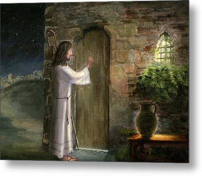 Jesus Knocking On The Door Metal Print by Cecilia Brendel