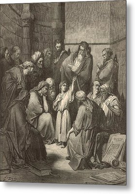Jesus Questioning The Doctors Metal Print by Antique Engravings