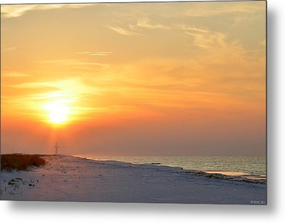 Jesus Rising On Easter Morning On Navarre Beach Metal Print by Jeff at JSJ Photography