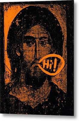 Metal Print featuring the painting Jesus Says Hi by Patrick Morgan