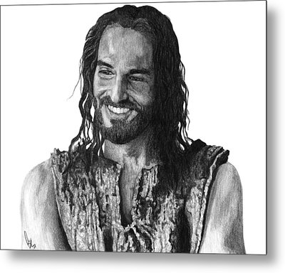 Jesus Smiling Metal Print