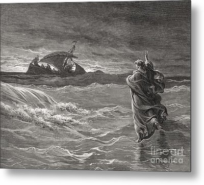 Jesus Walking On The Sea John 6 19 21 Metal Print by Gustave Dore
