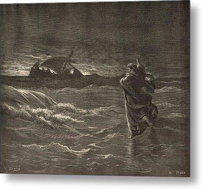 Jesus Walking On The Water Metal Print by Antique Engravings