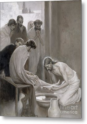 Jesus Washing The Feet Of His Disciples Metal Print