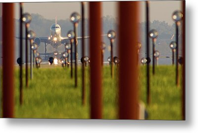 Jet Airplane Taking Off From Detroit Metal Print