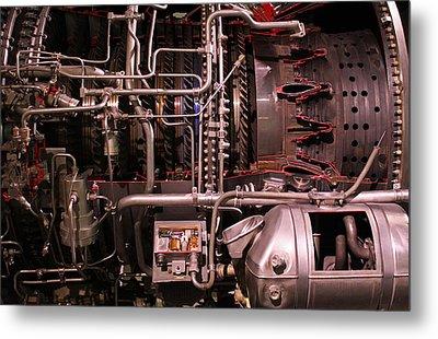 Jet Engine Red Vains Metal Print by Joseph Semary