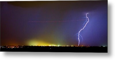 Jet Over Colorful City Lights And Lightning Strike Panorama Metal Print by James BO  Insogna