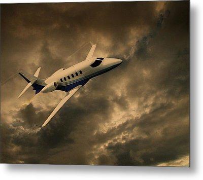 Jet Through The Clouds Metal Print by David Dehner