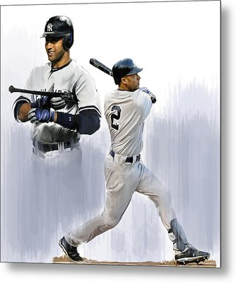 Jeter V Derek Jeter Metal Print by Iconic Images Art Gallery David Pucciarelli