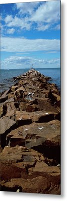 Jetty A Sea, Montauk Point, Montauk Metal Print by Panoramic Images