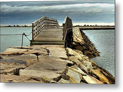 Jetty Bridge Metal Print by Janice Drew