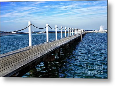 Jetty Stretching To The Ocean Metal Print by Kaye Menner