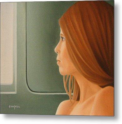 Jeune Fille Dans Un Train Metal Print by Michel Campeau