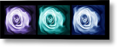 Jewel Tone Abstract Roses Triptych Metal Print by Jennie Marie Schell