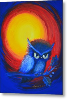 Metal Print featuring the painting Jewel-tone Vortex With Owl by Agata Lindquist