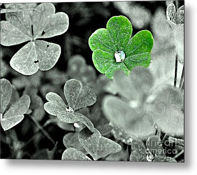 Jeweled Clover Metal Print