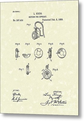 Jewelry Setting 1889 Patent Art Metal Print by Prior Art Design