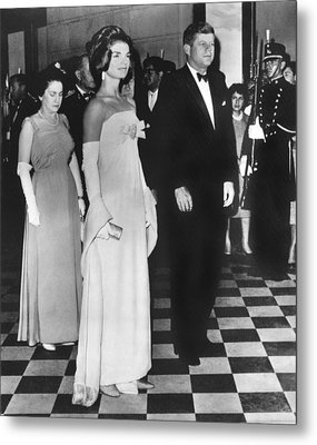 Jfk Mexico Reception Metal Print by Underwood Archives