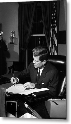 Jfk Signing The Cuba Quarantine Metal Print by War Is Hell Store
