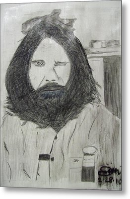 Jim Morrison Pencil Metal Print by Jimi Bush