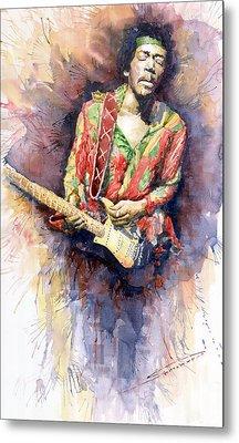 Jimi Hendrix 09 Metal Print by Yuriy  Shevchuk