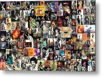 Jimi Hendrix Collage Metal Print