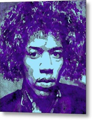 Jimi Hendrix In Purple Metal Print