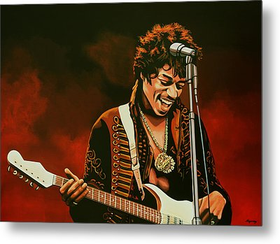 Jimi Hendrix Painting Metal Print by Paul Meijering