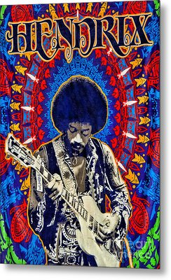 Jimi Hendrix Metal Print by Peter Dang
