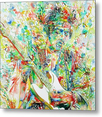 Jimi Hendrix Playing The Guitar Portrait.1 Metal Print by Fabrizio Cassetta