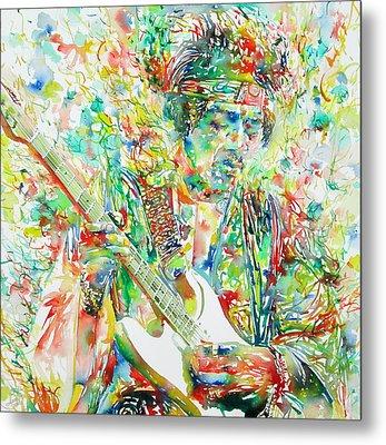 Jimi Hendrix Playing The Guitar Portrait.1 Metal Print