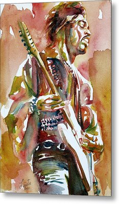 Jimi Hendrix Playing The Guitar Portrait.3 Metal Print