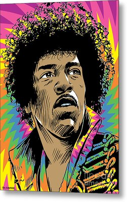 Jimi Hendrix Pop Art Metal Print by Jim Zahniser