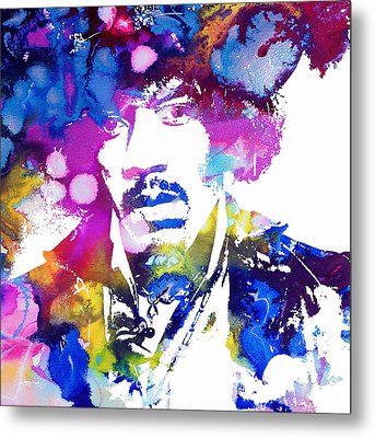 Jimi Hendrix - Psychedelic Metal Print by Doc Braham