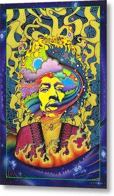Jimi Hendrix Rainbow King Metal Print by Jeff Hopp