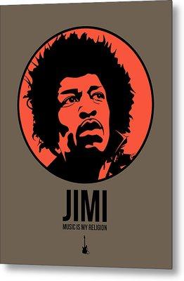 Jimi Poster 1 Metal Print by Naxart Studio