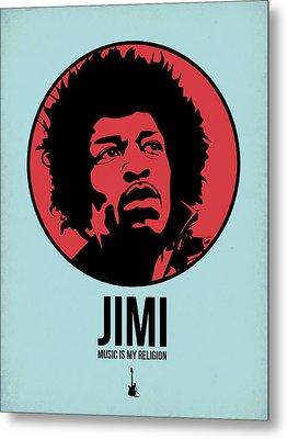 Jimi Poster 2 Metal Print by Naxart Studio