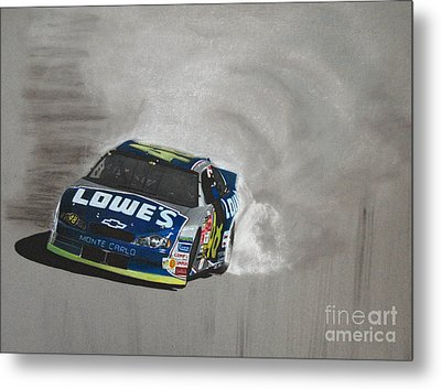 Jimmie Johnson-victory Burnout Metal Print by Paul Kuras