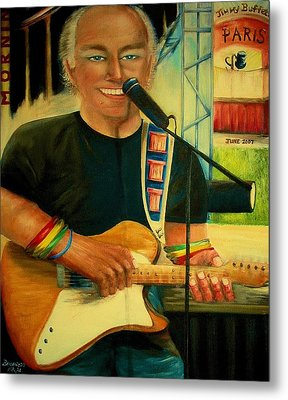 Jimmy Buffett In Paris Metal Print by Bernadette Krupa