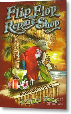 Jimmy Buffett's Flip Flop Repair Shop Metal Print by Desiderata Gallery