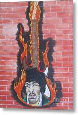 Metal Print featuring the painting Jimmy Hendrix And Guitar by Jeepee Aero