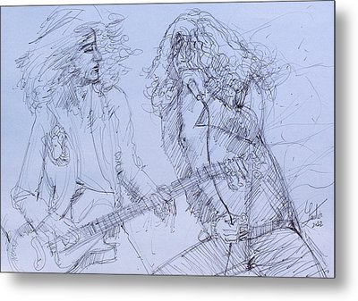 Jimmy Page And Robert Plant Live Concert-pen Portrait Metal Print by Fabrizio Cassetta