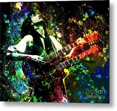 Jimmy Page - Led Zeppelin - Original Painting Print Metal Print by Ryan Rock Artist