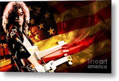 Jimmy Page Of Led Zeppelin Metal Print by Marvin Blaine